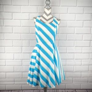 Lilly turquoise stripe roper sz 4 fit flare dress